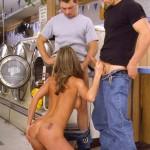 girl on her knees for 2 boys